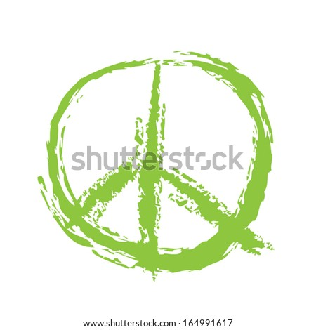 Peace Sign Brushed - stock vector