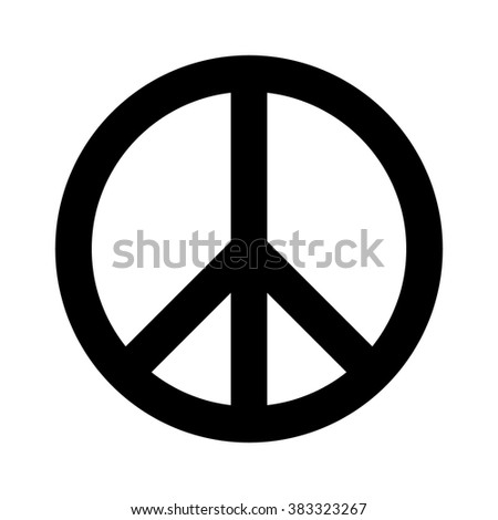 Peace sign flat icon for apps and websites - stock vector