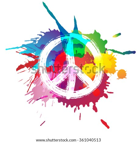 Peace sign in front of colorful splashes - stock vector