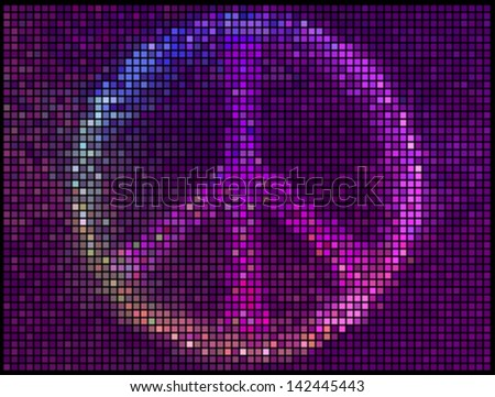 Peace Sign Multicolor abstract lights background. Square pixel mosaic vector - stock vector
