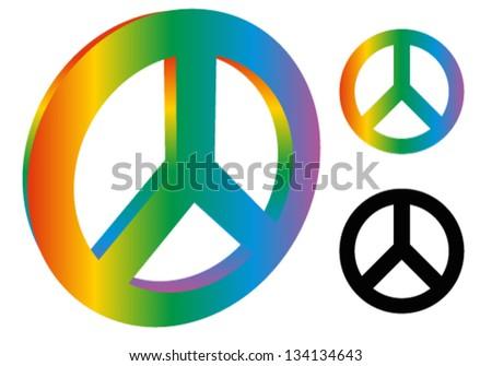 Peace Sign / Peace Symbol ( 3d version, 3 variation, rainbow colors, black version ) - stock vector