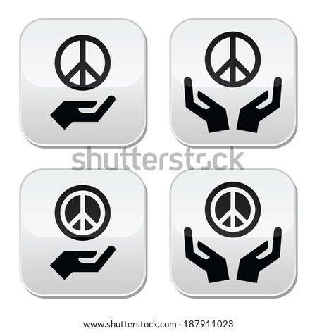 Peace sign with hands buttons set - stock vector