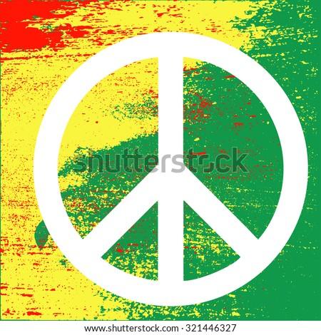 Peace symbol (reggae background) on Rastafarian colors of Jamaica . Concept design. Isolated vector illustration. - stock vector