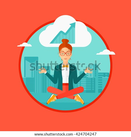 Peaceful business woman with eyes closed doing yoga and meditating in lotus pose outdoors and thinking about the growth graph. Vector flat design illustration in the circle isolated on background. - stock vector