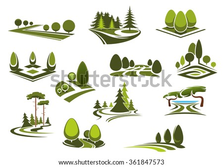 Peaceful nature landscapes icons with green walking alleys, decorative trees and bushes, beautiful lake and grass lawns of city public parks, gardens or forests - stock vector