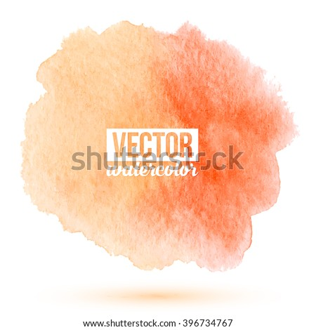 Peach color vector watercolor stain on white background - stock vector