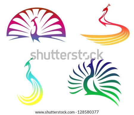 Peacock birds with colorful feathers isolated on white for mascot or any another design. Jpeg version also available in gallery - stock vector