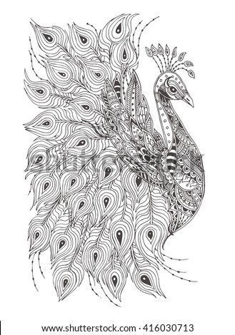 Peacock. Hand-drawn with ethnic floral doodle pattern. Coloring page - zendala, design for meditation for adults, vector illustration, isolated on a white background. Zen doodles. - stock vector