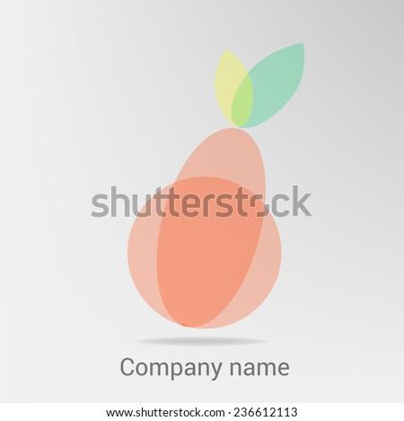 Pear and leaf logo, seasonal autumn concept, branding logotype design. Transparent elements - stock vector