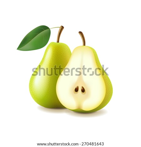 Pear and slice isolated on white photo-realistic vector illustration - stock vector
