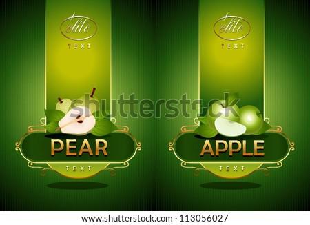 Pear, apple. Vector - stock vector