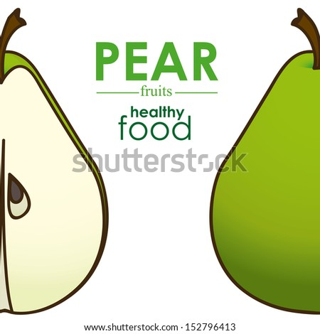 pear design over white background vector illustration  - stock vector