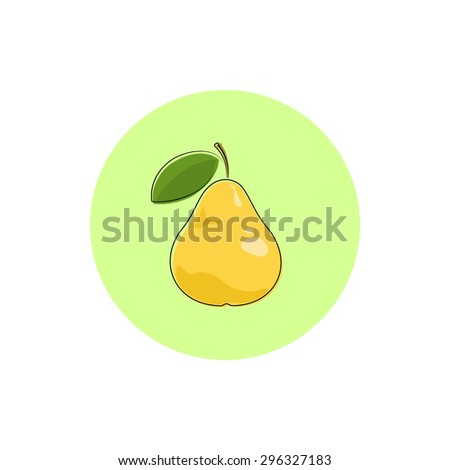 Pear, Icon Colorful Pear, Fruit Icon, Vector Illustration - stock vector