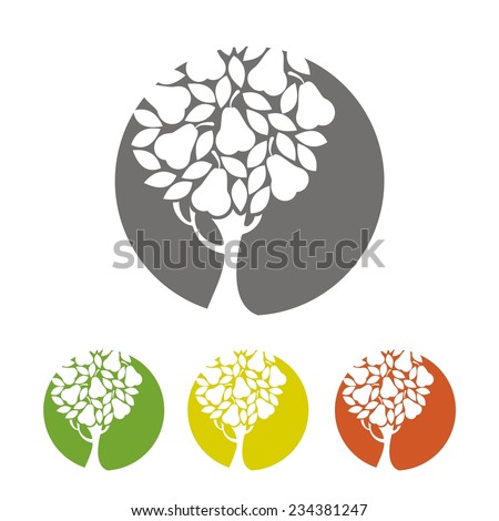 Pear tree icon. Vector silhouette. - stock vector