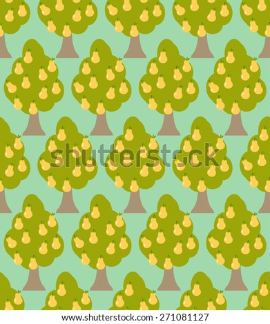 Pear tree seamless pattern. Orchard background. Garden trees ornament - stock vector