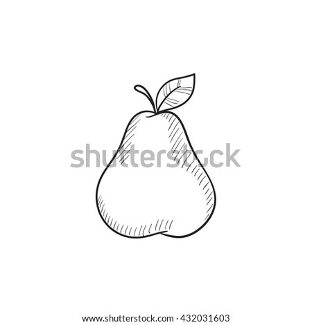 Pear  vector sketch icon isolated on background. Hand drawn Pear  icon. Pear  sketch icon for infographic, website or app. - stock vector