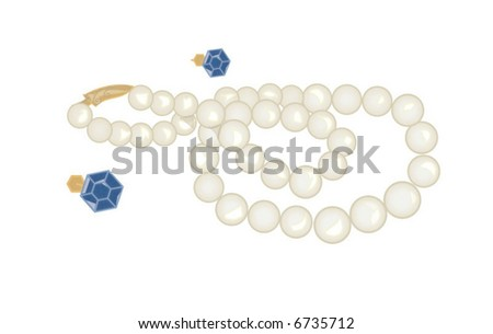 Pearl Necklace and Blue Earrings Vector - stock vector