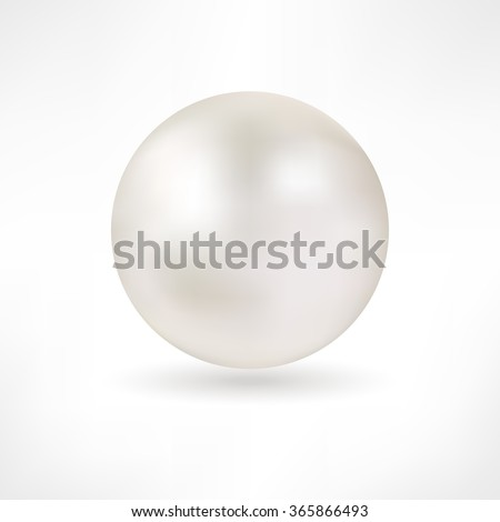Pearl. White pearl isolated. Beautiful 3D Pearl with a Smooth Shadow - 3D Vector Illustration. Pearl Realistic Vector Illustration. Shiny natural white pearl with light effects. Pearl icon. Abstract - stock vector