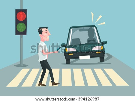 Pedestrian accident. Vector flat cartoon illustration - stock vector