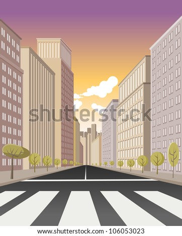 Pedestrian crossing on the street of downtown city with buildings - stock vector