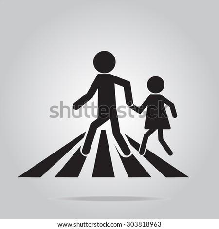 pedestrian crossing sign, school road sign vector illustration - stock vector