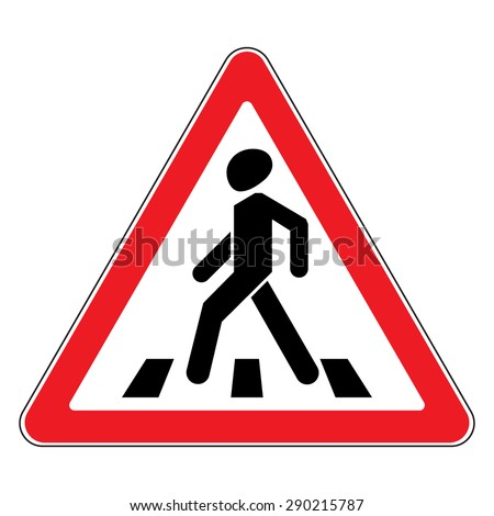 Pedestrian crossing sign. Traffic sign zebra crossing. Illustration of red triangular warning road sign for pedestrian crossing, isolated on white background. Editable stock vector illustration - stock vector