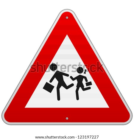 Pedestrian Danger Sign - Red triangle safety traffic sign isolated on white background - stock vector