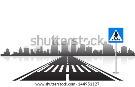 pedestrian sign and road - stock vector