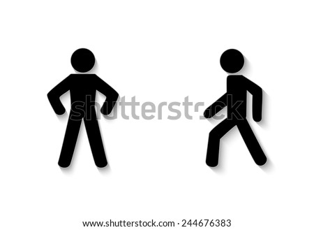 pedestrian traffic stay and walk. Illustration on white background - stock vector