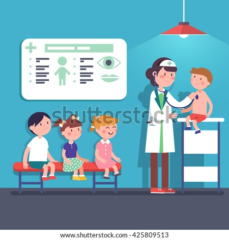 Pediatrician doctor woman doing medical examination of kids. Listening to kid heart rate with stethoscope. Modern flat style vector illustration cartoon clipart. - stock vector