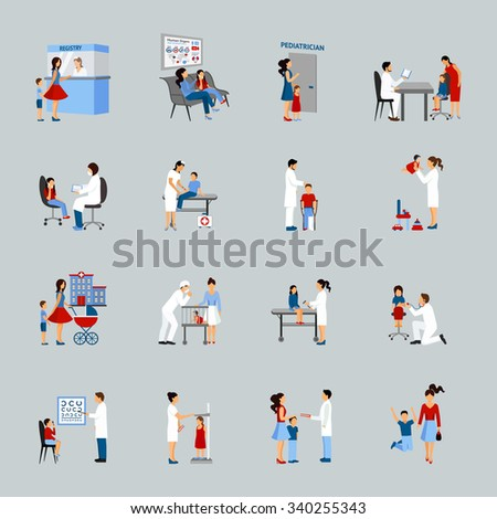 Pediatrician icons set with doctors children and parents silhouettes isolated vector illustration - stock vector