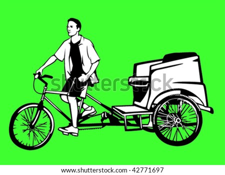 pedicab and driver - stock vector