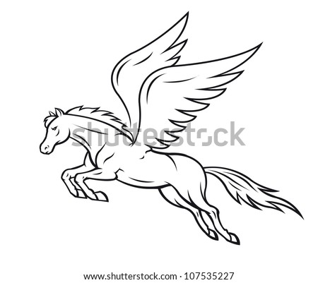 Pegasus horse with wings - stock vector