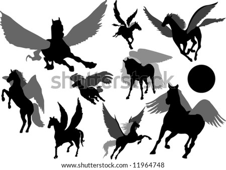 Pegasus mythology creature Silhouettes - stock vector