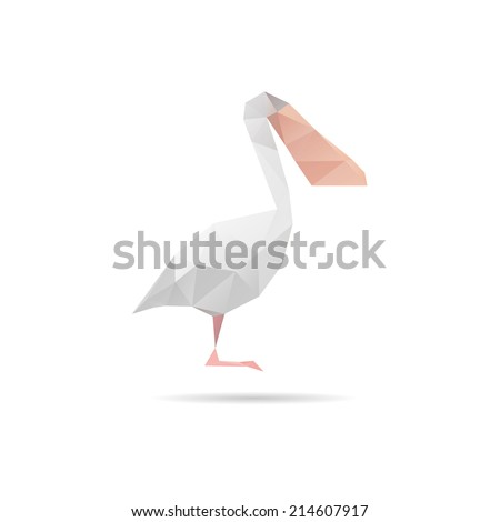 Pelican abstract isolated on a white backgrounds, vector illustration - stock vector