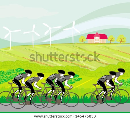 peloton cycling cyclists - stock vector