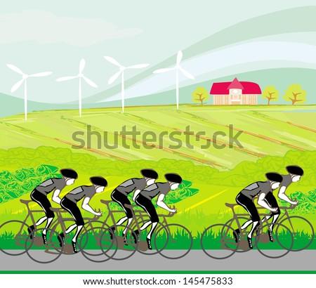 peloton cycling cyclists - stock vector