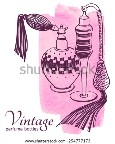 Pen and ink drawn vintage perfume bottles. Brush stroke background. Fashion illustration. - stock vector