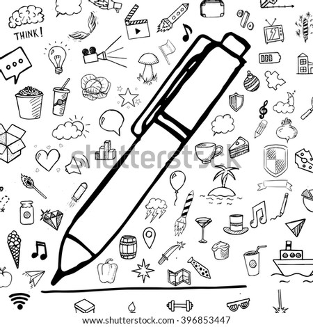 Pen and line with group of hand drawn icons, vector doodle objects on white background - stock vector
