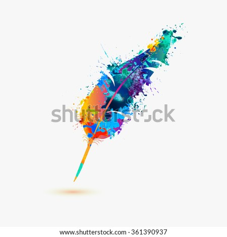 pen feather. Rainbow splash paint - stock vector