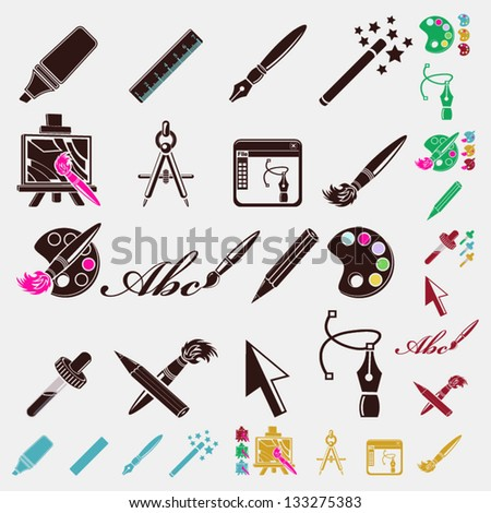 pen icons - stock vector