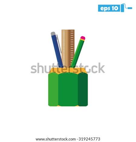 Pen Pencil Ruler Icon - stock vector