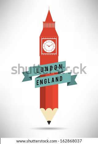 Pen Shaped Big Ben Tower Design - stock vector