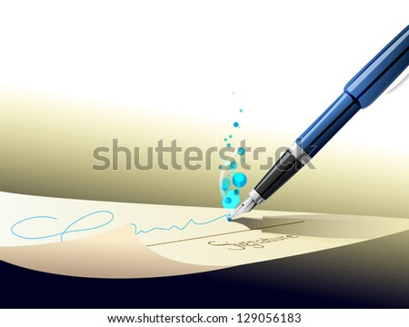 pen signing signature on contract paper - stock vector