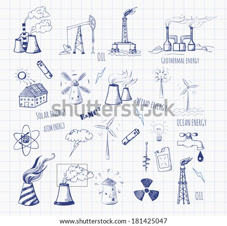 Pen sketches of oil rigs, oil platforms, thermal energy station and other sources of energy. Vector sketch illustration.  - stock vector