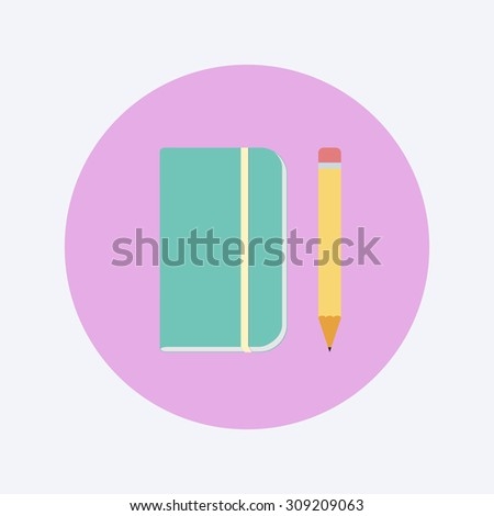 pencil and notepad icon - stock vector