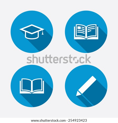 Pencil and open book icons. Graduation cap symbol. Higher education learn signs. Circle concept web buttons. Vector - stock vector