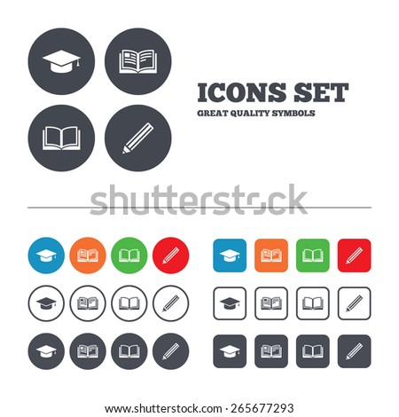 Pencil and open book icons. Graduation cap symbol. Higher education learn signs. Web buttons set. Circles and squares templates. Vector - stock vector