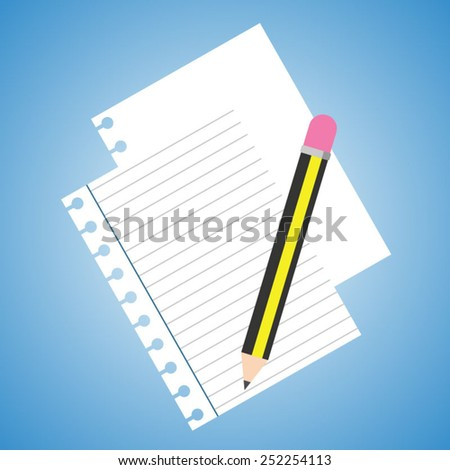 Pencil and paper - stock vector