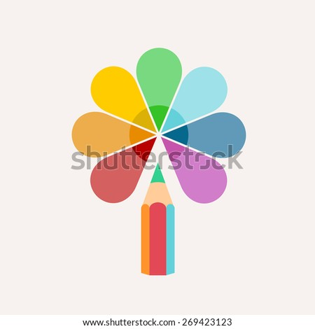 Pencil and petals. Vector logo, colored paint and icons - stock vector